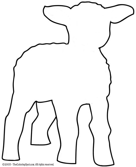 lamb cut out template - animals early play templates